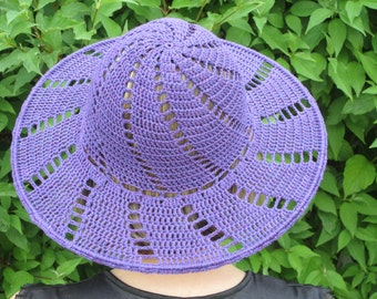 purple-violet summer  brimmed lady's hat