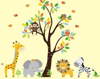 "Wall Decal Nursery - Animal Wall Mural - Nursery Wall Mural - Animal Wall Stickers - Safari Nursery Theme - Jungle Nursery Theme - 83"" x 97"""