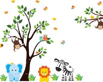 "Safari Wall Stickers - Jungle Wall Stickers - Blue Elephant Decal - Zebra Decal - Monkey Decal - Nursery Wall Decor - 83"" x 97"""