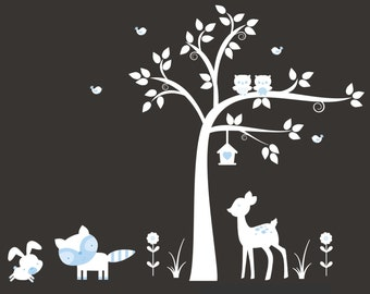 "Forest Nursery Decals - Woodland Animal Stickers - Nursery Wall Decals - White Tree Decal - Nursery Decor - Baby Shower Gift - 84"" x 78"""