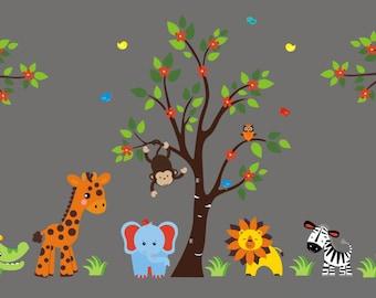 "Better than Vinyl Decals - Nursery Wall Decals - Safari Jungle Animals - Wall Stickers Kid's Nursery - Wall Decor Baby Room - 83"" x 156"""