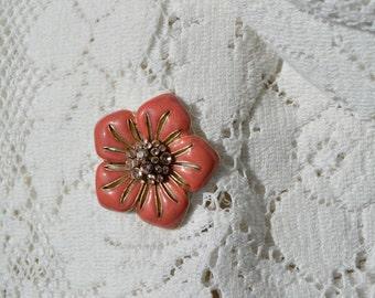 Pink Hibiscus Flower Brooch Pin Vintage Rhinestone Jewelry