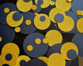 Gold and Black Confetti New Year Table Decor Engagement Party Circle Confetti Decor New Year Large Confetti Table Decor MixTable Decorations