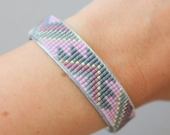 Silver cufflinks and woven beads Miyuki rose/grey/silver