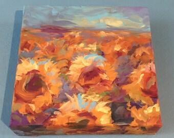 Sunflower Fields Acrylic Painting