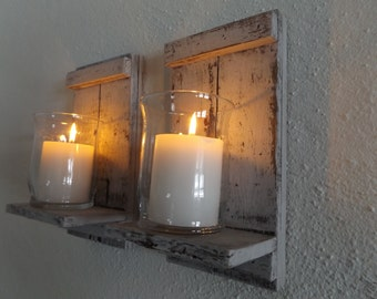 Wood Candle Sconce. White Candle Sconce. Candle Wall Sconce. Rustic Wall  Sconce. Rustic Candle Sconce. Shabby Chic Sconce. Candle Holder.
