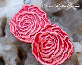 Carved red rose porcelain pendants