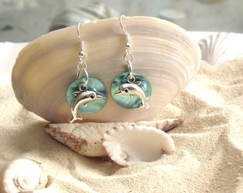 Silver Dophin Earrings with Aqua Blue Mussel Shell