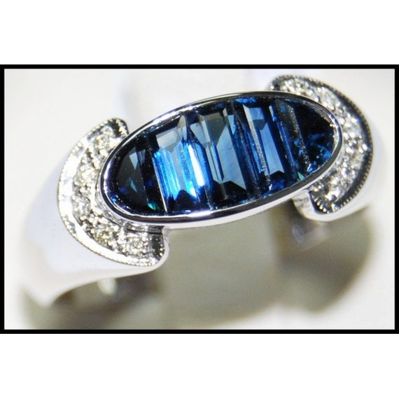 18k white gold gemstone unique blue sapphire ring