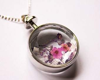 Dried Flower Necklace - Sterling Silver , Glass , Real Flower Pendant - Simple Minimalist Jewellery - Wedding - Gift - Terrarium