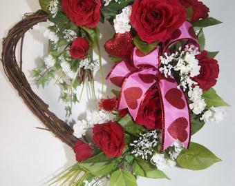 Heart Wreath, Roses, Front Door Wreath, Bedroom, Interior wreath