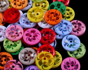 Swirl Buttons, Flower Buttons, Swirl Resin Buttons, 14mm Resin Buttons, 14mm Flower Buttons, Mixed Colour Buttons, Button Packs, Acrylic