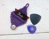 Guitar pick cozy, guitar pick holder, purple pick holder, knit pick holder, ready to ship, hand knit, musician's gift, music student, rocker