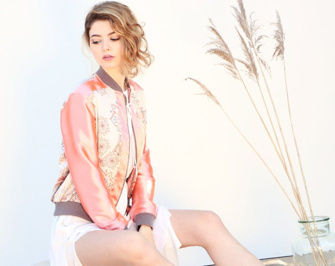 Coral bomber jacket