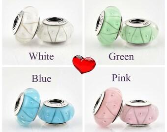 Authentic Pandora Murano Glass Charms Zig - Zag White Blue Green Pink