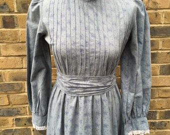 vintage laura ashley made in wales 1970s pioneer victoriana prairie maxi dress / uk 8-10