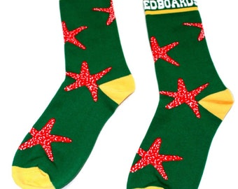 Dojo Shredboards Socks Starfish Forest Green Yellow and Pink