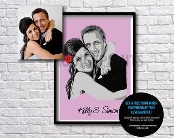 Personalized custom wedding portrait, couple portrait, gift for wife