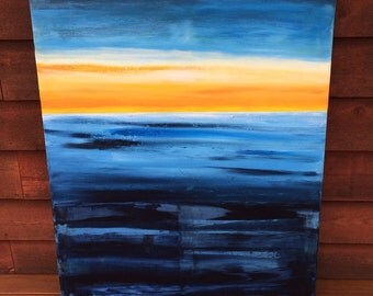 Semi-abstract acrylic on canvas seascape painting