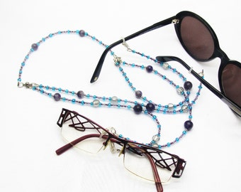 Double cord goggles tailored for two pairs of glasses from view and Sun jewel for glasses, Attaché-glasses, gift women