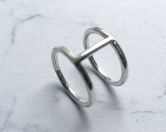 Twin band, double band, wagon wheel ring, strut ring, Sterling Silver