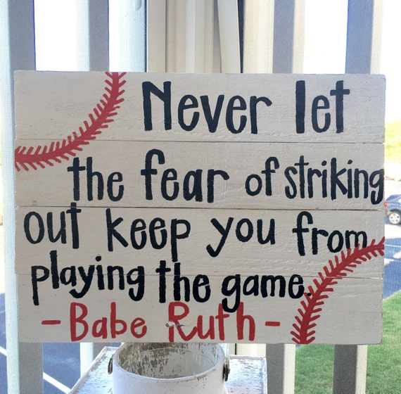Persistence Motivational Quotes: Items Similar To Baseball Sign.Babe Ruth Quote