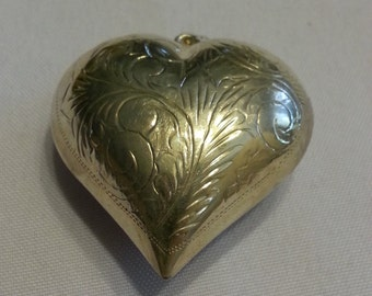 1980's Sterling Silver Plated Engraved Puffed Heart