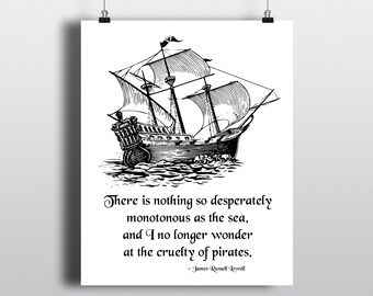 Printable Pirate Ship Graphic, Sailing The Seas Illustration, Pirate Quote, Instant Download Nautical Sign, DIY Boat Print