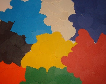 "Heard paper multi color confetti. 200pc., 1"", 25 each color"