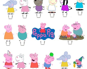 Peppa pig Cupcakes Toppers stands up  x26 PIECES