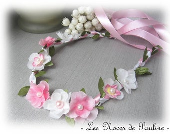 Pink and white flowers wedding Crown Laura