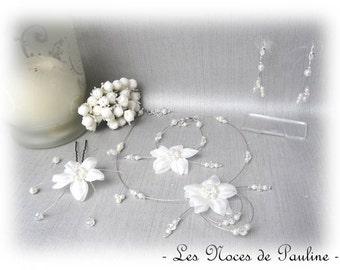 Ivory wedding adornment and Crystal Center silk flower Eva 10 pieces