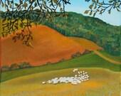 """Peinture à l'huile sur toile. Tableau """"Les moutons de Marliac"""" de Michaëlle Liefooghe. Paysage des Pyrénées (France) en automne. 24X30 cm"""