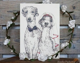 Postcard for Wedding / Greeting card with dogs / Original Illustration /Wedding invitation/ Dogs in love