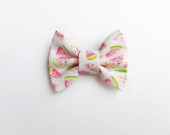 MINI Watermelon Bow, baby hair clip, baby headband, baby girl, girl toddler, hair clip, baby bow