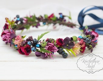 Purple blue floral crown Flower halo Bridal headband Wedding flower crown Flower crown Floral head wreath Girl crown Floral accessories