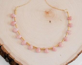 Pink Jade Drops Necklace, Jade Necklace, Jade Jewelry, Pastel Pink Necklace, Pink Jewelry, Gift for girlfriend