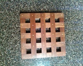 Handmade Black Walnut Trivet - Potholder - Wooden trivet.