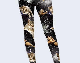 Flying Cats Leggings, Cats in the Space, Funny Leggings, Galaxy Leggings for Women, Gift for Catlovers