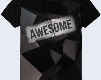 Awesome Mens Shirt, Black T Shirt, Graphic T Shirt, Funny T Shirt for Men, Graphic Tee
