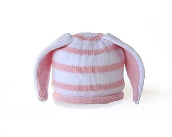 Baby hat with bunny ears - pink