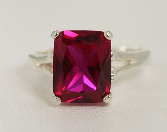 READY TO SHIP Size 4 - Ruby Ring Sterling Silver, Emerald Cut Ruby Ring, July Birthstone Ring, Ruby Ring