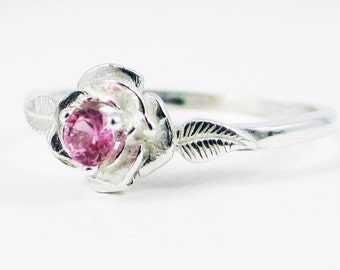 Pink Sapphire Rose Ring Sterling Silver