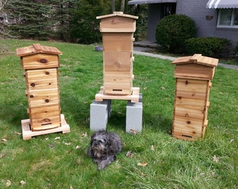 Warre Bee Hive - NEW - Complete 3 Box Hive *Fully Assembled* - AOKA™ Farm - Untreated CEDAR