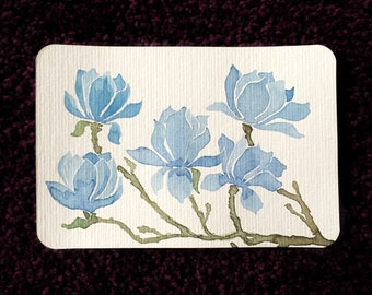 original watercolour painting, postcard with Magnolia flowers