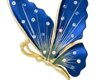 Hand Painted Swarovski Element Butterfly Brooch Pin - Blue