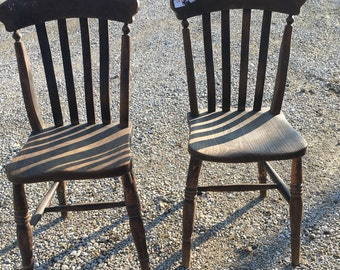Set of 2 Matching Pair of Antique Wooden Chairs Solid, Sturdy Great Condition!