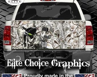 Bow Reaper Obliteration Buck Snow Camo Truck Tailgate Wrap Vinyl Graphic Decal Sticker Wrap