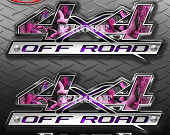 4x4 Block Obliteration Pink Camo Camouflage Truck Bed Vinyl Decal Sticker - PAIR