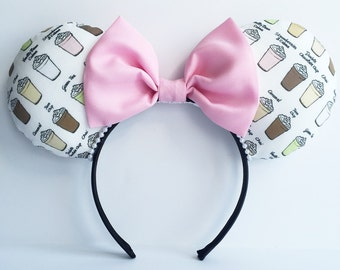 Coffee Ears, Frappuccino Ears,  Starbucks Mouse Ears, Frappuccino Mouse Ears, Coffee Mouse Ears, Minnie Ears, Disney Ears Coffee Minnie Ears